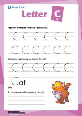 """Alfabet angielski: pisanie litery """"C"""""""