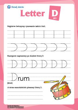 """Alfabet angielski: pisanie litery """"D"""""""