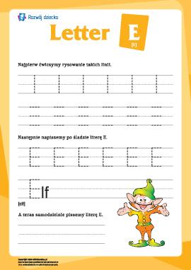 """Alfabet angielski: pisanie litery """"E"""""""