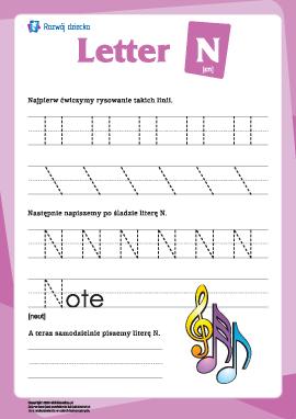 """Alfabet angielski: pisanie litery """"N"""""""