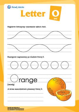 """Alfabet angielski: pisanie litery """"O"""""""