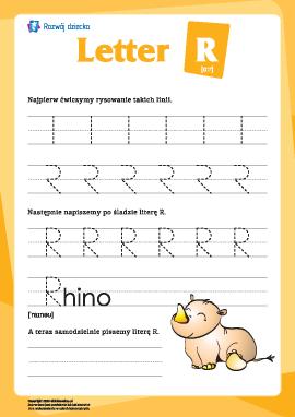 """Alfabet angielski: pisanie litery """"R"""""""