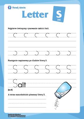 """Alfabet angielski: pisanie litery """"S"""""""