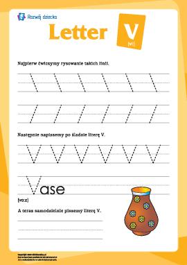 """Alfabet angielski: pisanie litery """"V"""""""