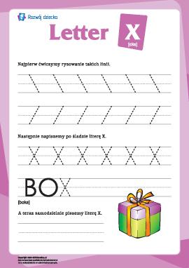 """Alfabet angielski: pisanie litery """"X"""""""