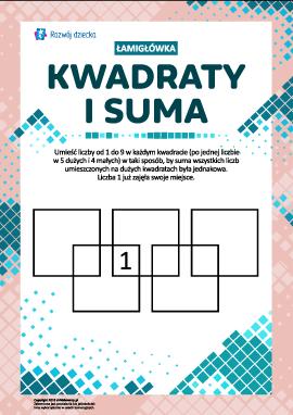 """Łamigłówka """"Kwadraty і suma"""""""
