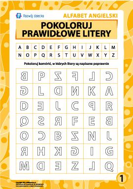 Prawidłowe litery nr 1 (angielski alfabet)