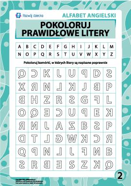 Prawidłowe litery nr 2 (angielski alfabet)