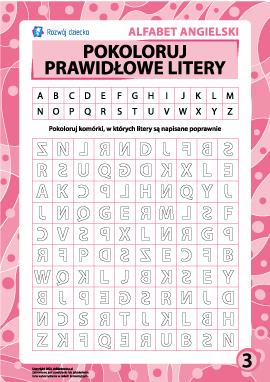 Prawidłowe litery nr 3 (angielski alfabet)