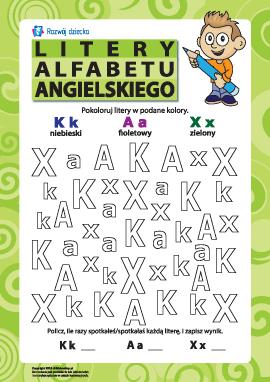 Litery alfabetu angielskiego – K, A, X
