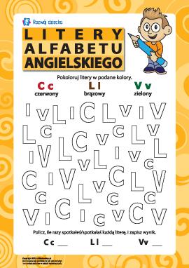Litery alfabetu angielskiego – C, L, V
