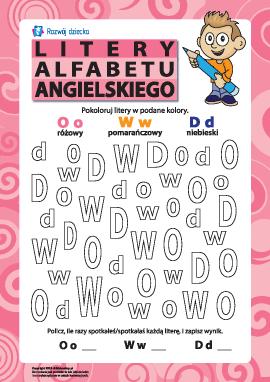 Litery alfabetu angielskiego – O, W, D