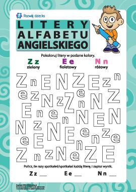 Litery alfabetu angielskiego – Z, E, N