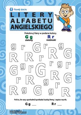 Litery alfabetu angielskiego – G, R