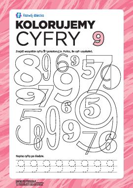 Kolorujemy oraz uczymy się pisać cyfrę 9