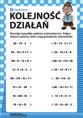Uczymy się trybu działań arytmetycznych nr 1