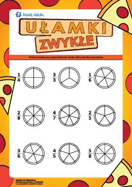 Badamy ułamki zwykłe na kawałkach pizzy