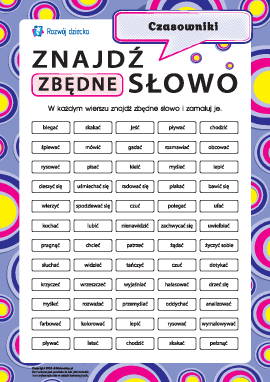 Znajdź zbędne słowo nr 6: czasowniki