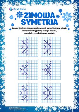 Symetria zimowa: dorysuj płatki śniegu