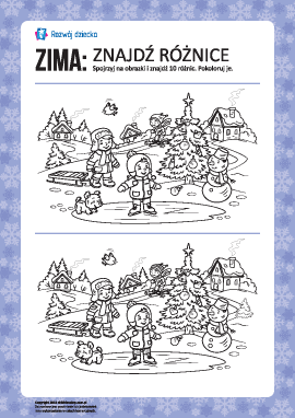 Zima: znajdź różnice i pokoloruj
