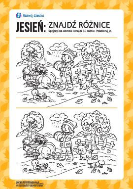 Jesień: znajdź różnice i pokoloruj
