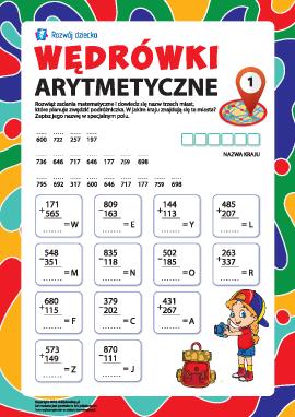 Wędrówki arytmetyczne nr 1: dodawanie i odejmowanie w słupku