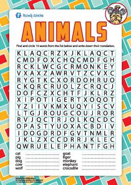 Szukamy angielskich słów: zwierzęta
