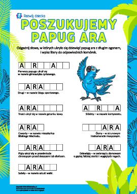 Słownictwo: Szukamy papugi ara
