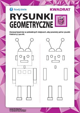 Rysunki geometryczne: dorysuj kwadraty
