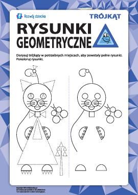 Rysunki geometryczne: dorysuj trójkąty