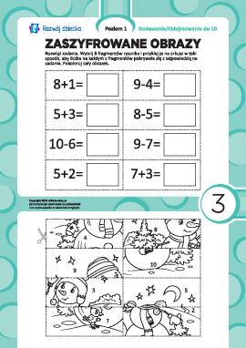 Zaszyfrowane obrazy nr 3: dodawanie i odejmowanie w zakresie 10