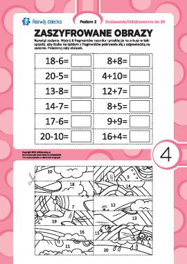 Zaszyfrowane obrazy nr 4: dodawanie i odejmowanie w zakresie 20
