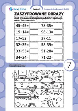 Zaszyfrowane obrazy nr 7: dodawanie i odejmowanie w zakresie 100