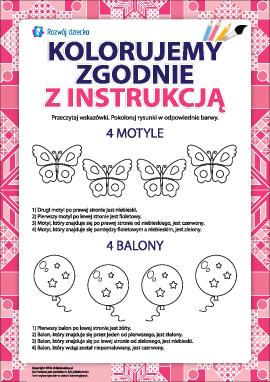 Pokoloruj zgodnie z instrukcją (motyle i balony)