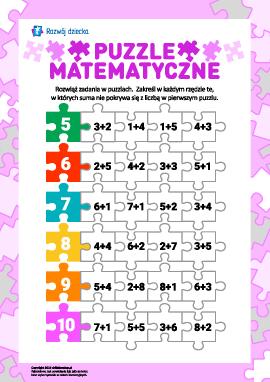 Puzzle matematyczne: dodajemy w zakresie 10