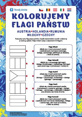 Kolorujemy flagi państw: Austria, Holandia, Rumunia, Włochy, Czechy