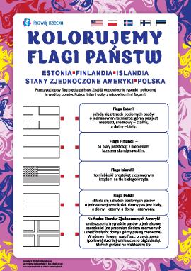 Kolorujemy flagi państw: Estonia, Finlandia, Islandia, USA, Polska