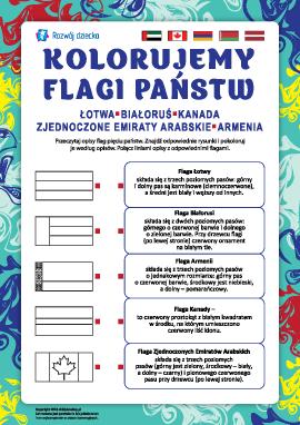 Kolorujemy flagi państw: Łotwa, Białoruś, Kanada, ZEA, Armenia