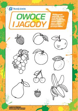 Owoce i jagody: uczymy się i kolorujemy