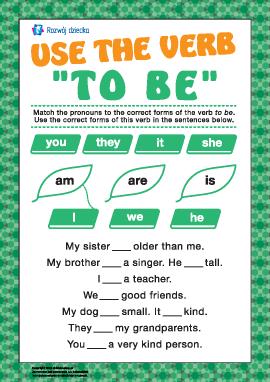 """Uczymy się wykorzystywania czasownika """"to be"""" w czasie teraźniejszym"""