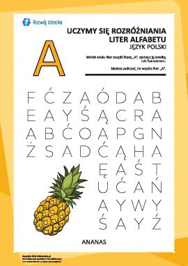 """Alfabet polski: znajdź literę """"A"""""""