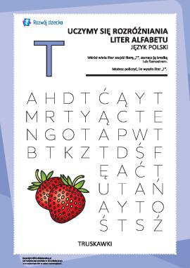 """Alfabet polski: znajdź literę """"T"""""""