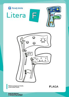 """Kolorowanka """"Litery alfabetu polskiego"""": litera """"F"""""""