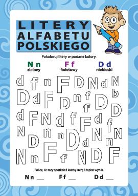 Litery alfabetu polskiego – N, F, D