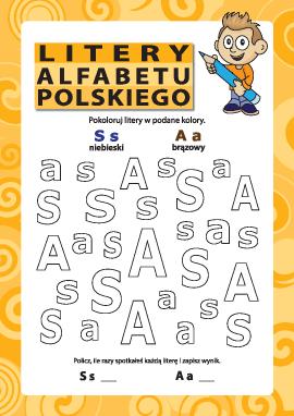 Litery alfabetu polskiego – S, A