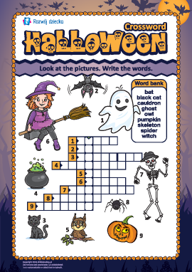 """Krzyżówka w języku angielskim """"Halloween"""""""