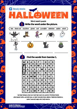"""Tematyczna łamigłówka: """"Halloween"""" (w języku angielskim)"""