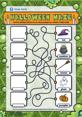 """Rozwijamy logikę: labirynt """"Halloween"""" (w języku angielskim)"""