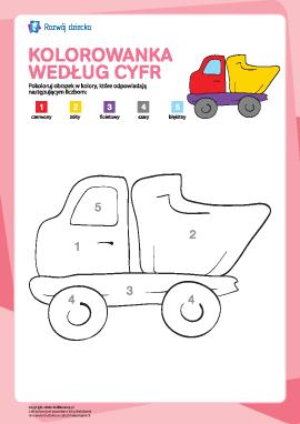 Kolorowanka zgodnie z cyframi: ciężarówka
