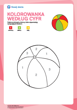 Kolorowanka zgodnie z cyframi: piłeczka